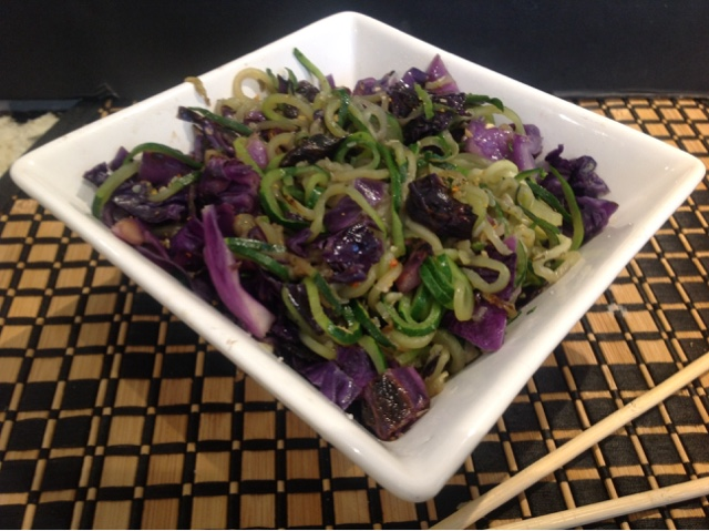 gluten free zucchini pasta with purple cabbage