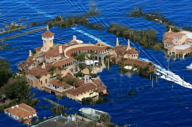 Artist's impression of Trump's Mar-a-Lago resort underwater, due to sea level rise. Graphic: Wikimedia / Artistic Impression