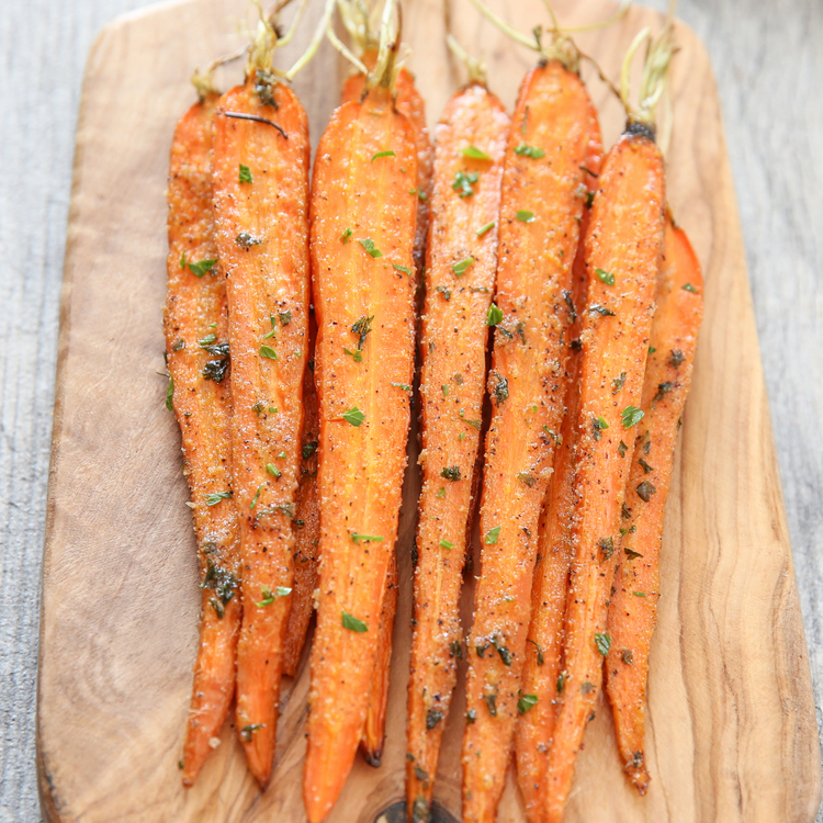 top-down photo of ranch roasted carrots