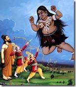 [Rama and Lakshmana shooting Tataka]