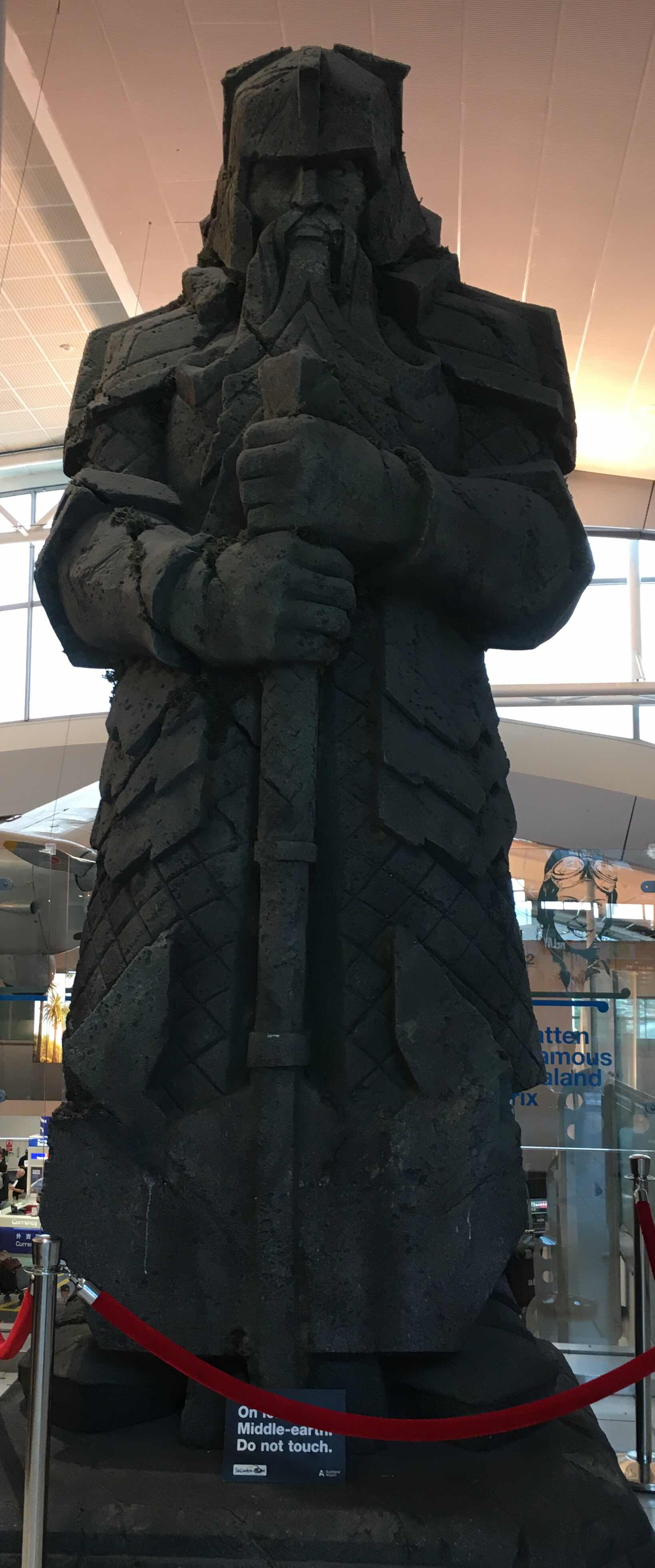 Auckland airport Lord of the Rings statue
