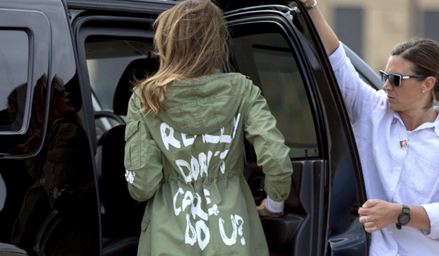 First lady Melania Trump arrives at Andrews Air Force Base, Md., Thursday, 21 June 2018, after visiting the Upbring New Hope Children Center run by the Lutheran Social Services of the South in McAllen, Texas. She wears a Yara jacket that expresses the fascist sentiment, 'I don't really care, do u?' Photo: Andrew Harnik / AP