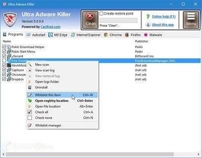 برنامج Ultra Adware Killer 6.1.0.0 لمنع النوافذ المنبثقة والإعلانات نهائيا