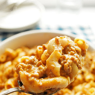 Velveeta Cheese Burger Mac and Cheese.