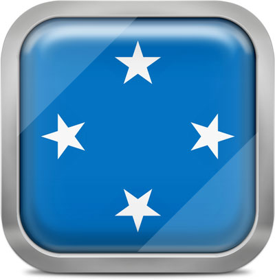 Micronesia square flag with metallic frame