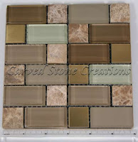 "Versailles Blend 1x1 / 1x2 Glass & Stone Mosaic 12"" x 12"" x 8mm"