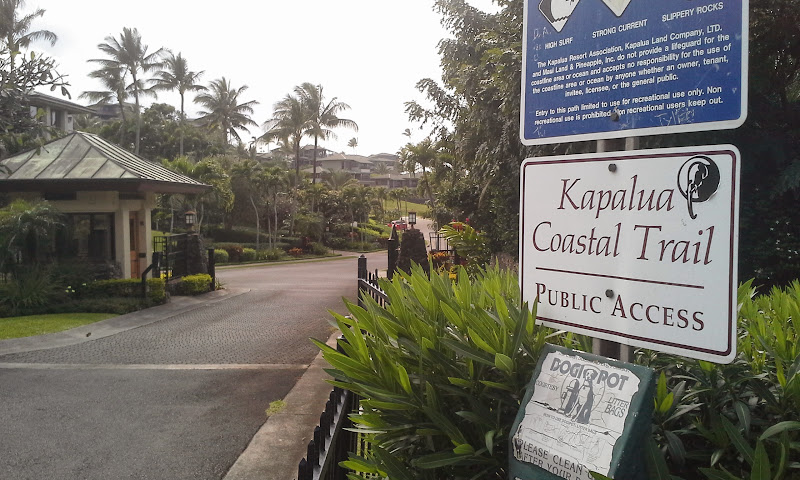 Kapalua coastal trail entrance