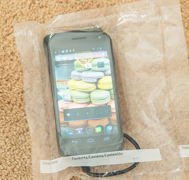 photo of a cell phone sealed in a bag