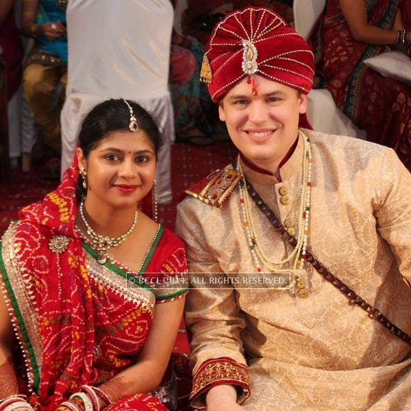 Swati Tiwari and Adam Filion during their wedding, held at Swagat Lawns, in Nagpur.