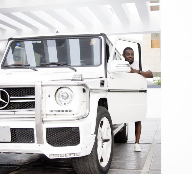 AY Shows Off His White Mercedes G-wagon