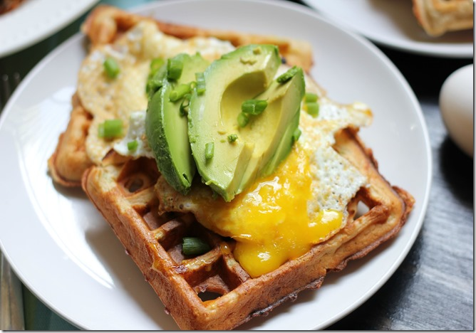 Savory Waffles with Fried Egg and Avocado