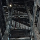 Looking up at the first set of Shot Tower Stairs.  The wavy track on the right was a guide for the dumb waiter that took materials to the top.