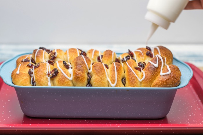 Cranberry Orange sweet pull apart bread with a confectioners glaze