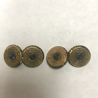 14K Gold and Blue Stone Cufflinks