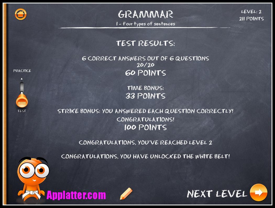iTooch Elementary School Grammar Test Results