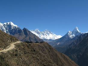 Photo: Ama Dablam (right), Everest sticking out