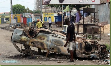 burned out car, Kinshasa (Sept 19th)