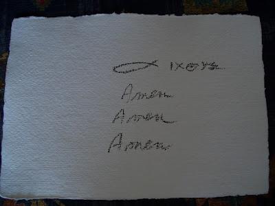 Η Βασούλα σχεδίασε το σχήμα του ιχθύ για την ομάδα προσευχής στη Στυρία  και έγραψε 3 φορές: AMΗN!
