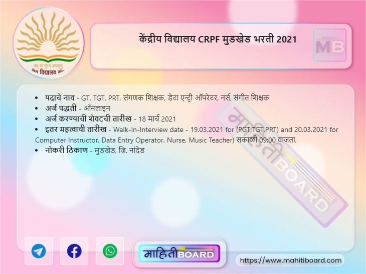KVS Mudkhed Bharti 2021