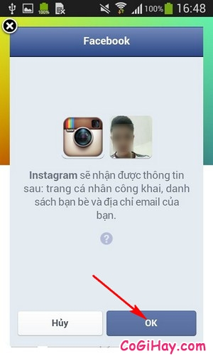 Cho phép instagram đăng nhập bằng facebook