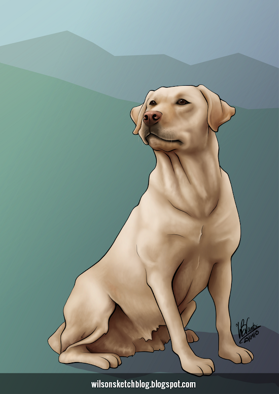 Painting of a Labrador Retriever dog.Painting of a Labrador Retriever dog.