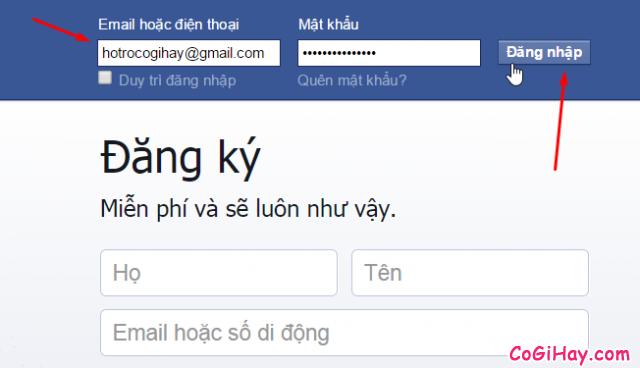Nhập email và mật khẩu đăng nhập facebook