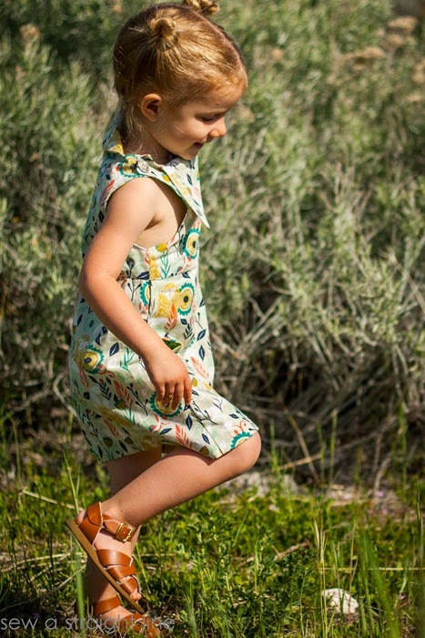 Side view - Fresh Bloom Frock by Blank Slate Patterns sewn by Sew a Straight Line - Girls dress sewing pattern