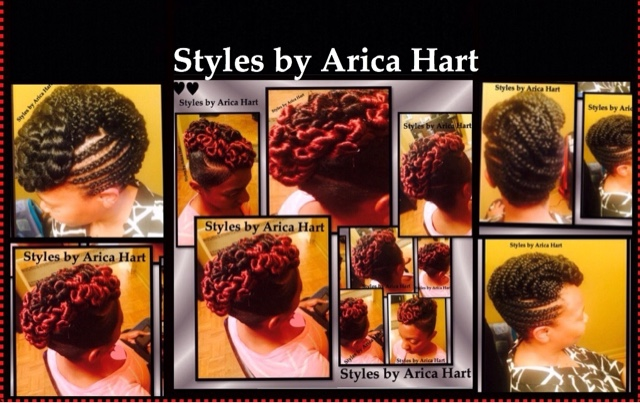 Mohawk , braids , protective styles , twist , up dos , black hair styles , styles by Arica Hart