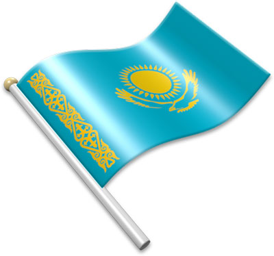 The Kazakhstani flag on a flagpole clipart image
