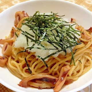 Butter Soy Sauce Squid Pasta with Grated Daikon Radish