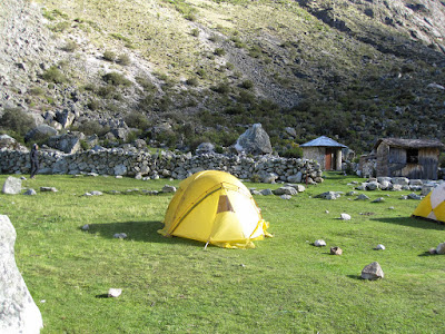 Our tent.  And you can see the old outhouse in the background, completely unusable now.   ©http://backpackthesierra.com