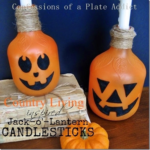 CONFESSIONS OF A PLATE ADDICT Country Living Inspired Jack-o'-Lantern Candlesticks