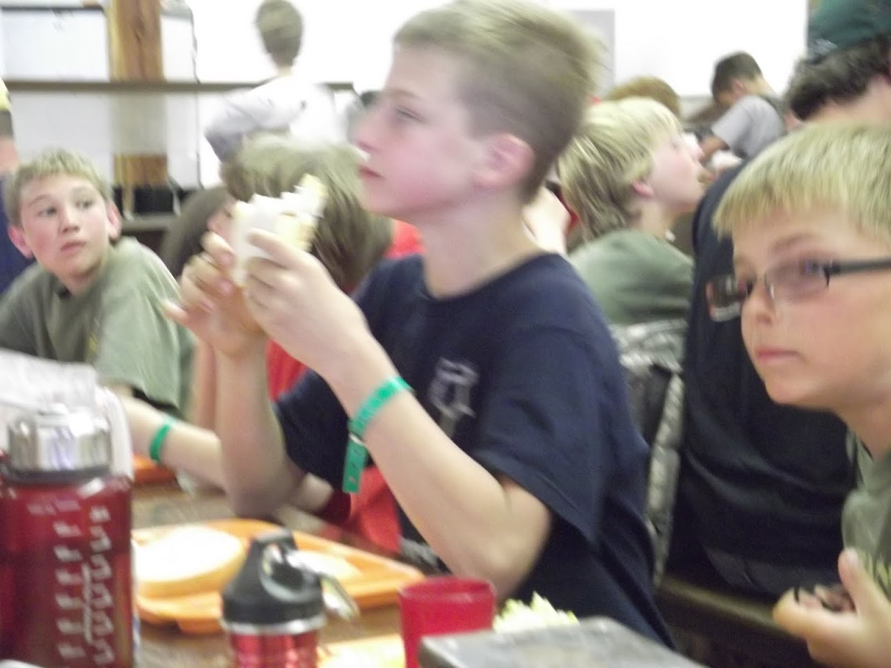 Carson and Tristan enoying lunch