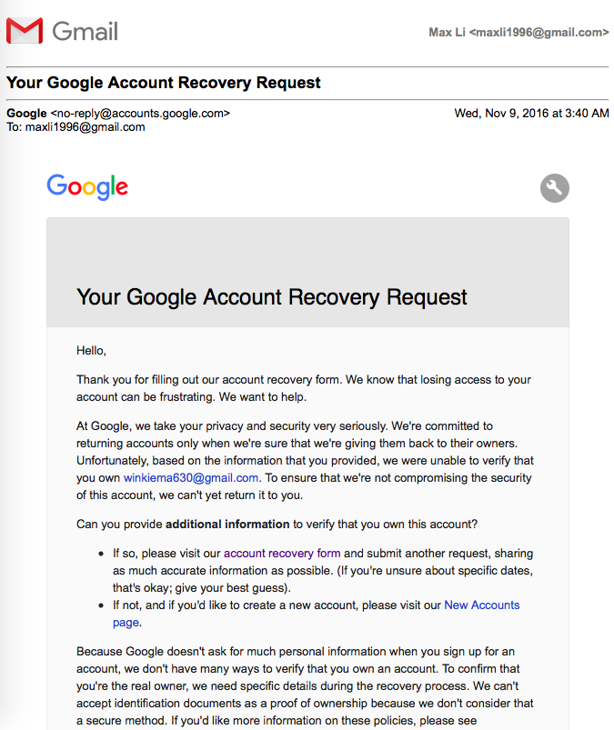 Google couldn't verify it's you, so you can't sign in to this ...