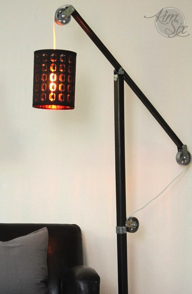 Pottery barn style metal and wood industrial floor lamp