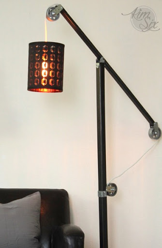 ... Pottery Barn Style Metal And Wood Industrial Floor Lamp