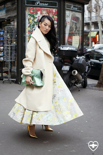 Tina Leung; stylist; Celine coat; Rochas dress; Rochas bag; Giuseppe Zanotti shoes;