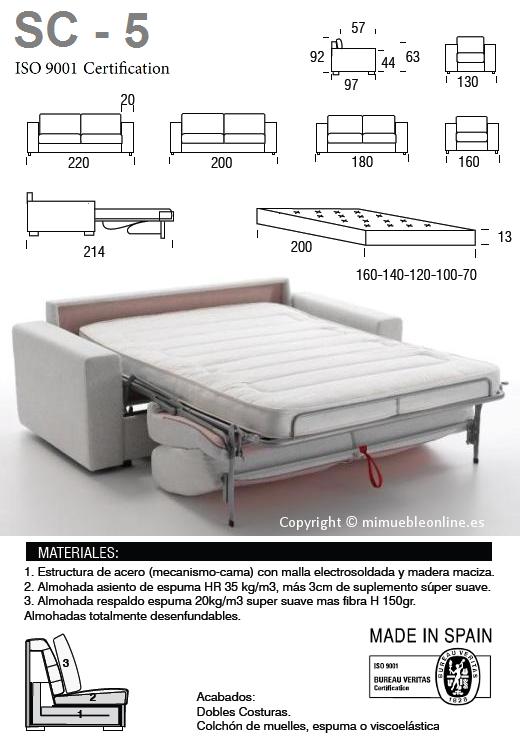 Sof cama sc 5 for Sofa cama pequeno medidas