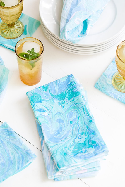 how to marble tea towels