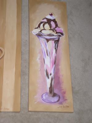 Close up of Sundae painting.