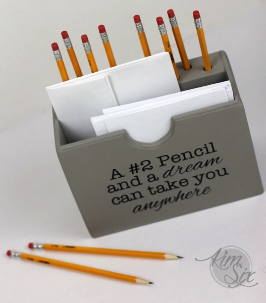 Wooden pencil holder and desk organizer
