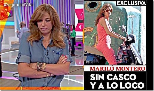 Mariló Montero en la campaña de seguridad vial y en motocicleta sin casco