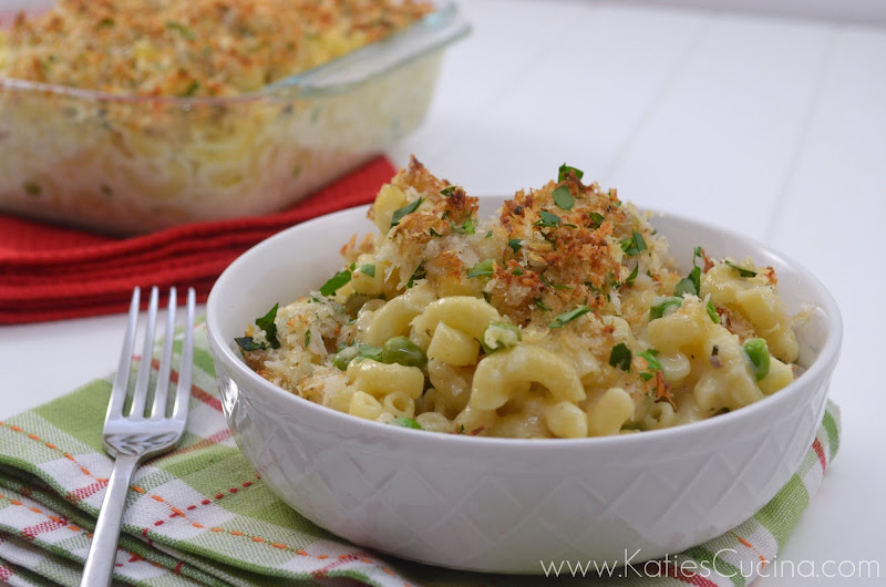 Crabby Cheese with Mac and Peas