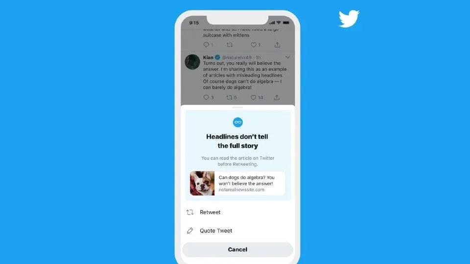 تحديث جديد بموقع تويتر سيسأل الجميع هل قرأوا المقالة قبل إعادة تغريدها ام لا