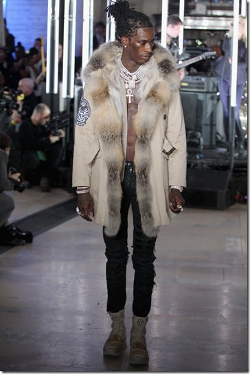 NEW YORK, NY - FEBRUARY 13:  Rapper Young Thug walks the runway wearing look #39 for the Philipp Plein Fall/Winter 2017/2018 Women's And Men's Fashion Show at The New York Public Library on February 13, 2017 in New York City.  (Photo by Thomas Concordia/Getty Images for Philipp Plein)
