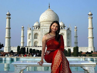 Aishwarya Rai in Red Designer Saree at the Taj Mahal