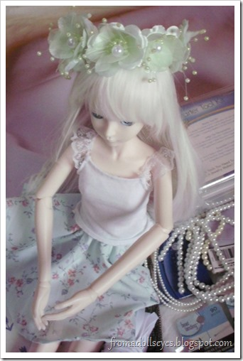 Ball Jointed Doll Wearing Craft Flowers on Her Head