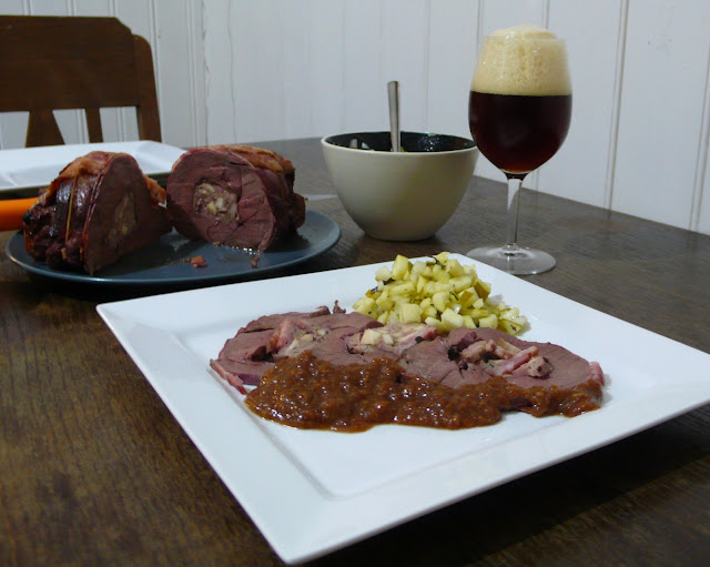 Apple and bacon stuffed venison haunch roast