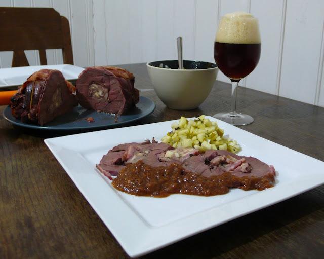 Apple and bacon stuffed venison haunch roast