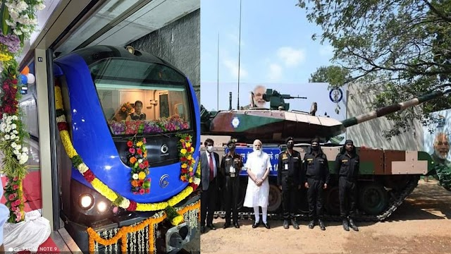 तमिलनाडु में पीएम मोदी ने चेन्नई मेट्रो ब्लू लाइन का फेज1 का किया शुभारंभ , अर्जुन टैंक सेना को सौपा और कई प्रोजेक्ट्स की रखी आधारशिला ।।